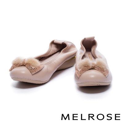 娃娃鞋 MELROSE 閃爍蝴蝶結貂毛球鑽帶點綴超軟Q全真皮厚底娃娃鞋-米