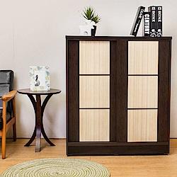 Birdie南亞塑鋼-3尺雙拉門方塊直飾條塑鋼鞋櫃(胡桃+白橡)-90x41x104cm