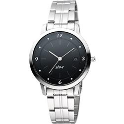 STAR 藝術時尚簡約風情女錶-黑x銀/36mm