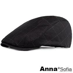 【滿額再75折】AnnaSofia 細點長格線 鴨舌帽小偷帽(酷黑系)