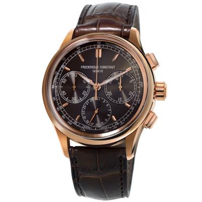 康斯登 CONSTANT自製機芯返馳式計時腕錶-42mm/深灰x咖啡