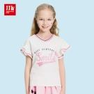 JJLKIDS 活力女孩V領印花荷葉袖T恤(白色)
