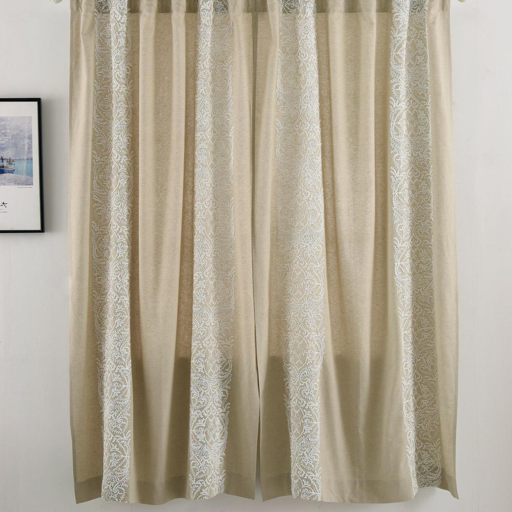 伊美居 - 亞麻刺繡單層落地窗簾 - 單片130x230cm (共2片)