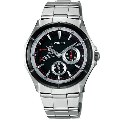 WIRED 新月傳說日曆時尚腕錶(AN7019X)-黑