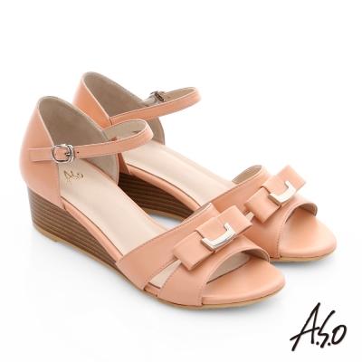 A.S.O 南法香頌 質感釦飾仿木紋楔型涼鞋 橘色