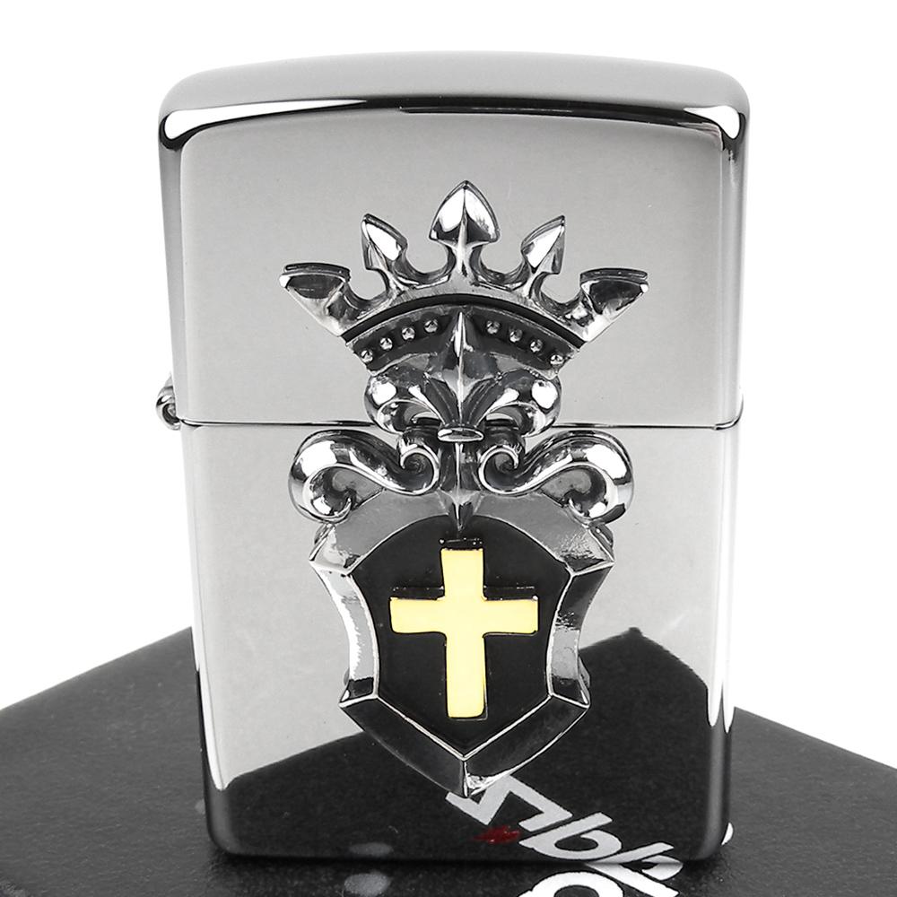 ZIPPO 日系~Combination Metal -十字皇冠金屬貼飾打火機