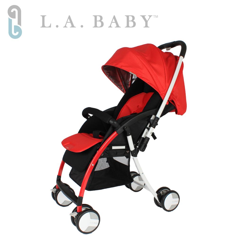 【美國 L.A. Baby】超輕量雙向全罩嬰幼兒手推車 (紅色)
