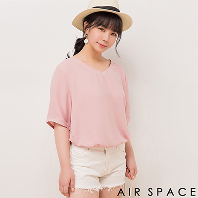 AIR SPACE PLUS 背鏤空剪裁七分袖素面上衣(粉紅)