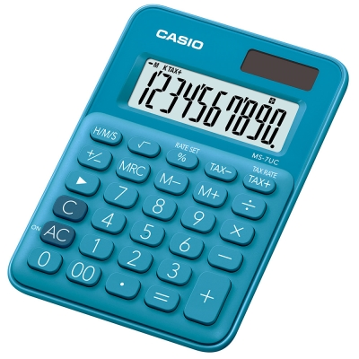CASIO 10位元甜美馬卡龍迷你型計算機(MS-7UC-BU)-俏藍莓