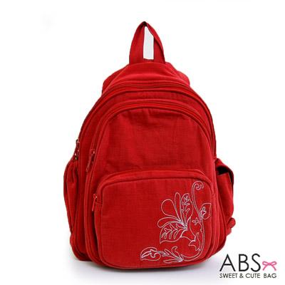 ABS貝斯貓 典雅花卉圖騰 小型雙肩後背包88-037 - 玫瑰紅