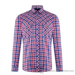 ROBERTA諾貝達 進口素材 台灣製 合身版 純棉長袖襯衫 紅藍