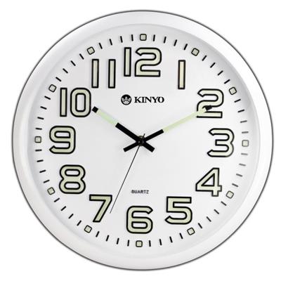 KINYO 夜光大數字 靜音掛鐘-白/ 33cm (CL127)