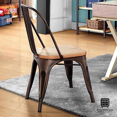 漢妮Hampton克里門系列工業風高背木座鐵椅【兩入組】-44x47x86cm