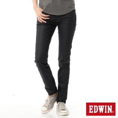 EDWIN 沉著絢爛 EDGE光感窄直筒牛仔褲-女-原藍色