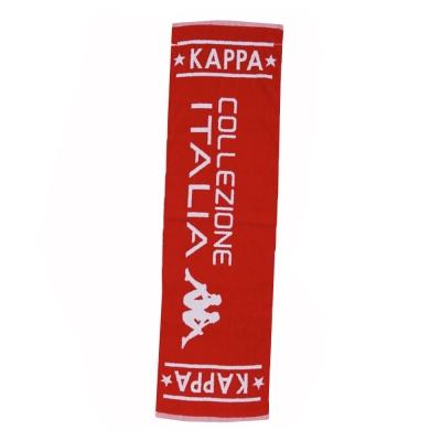 KAPPA義大利休閒慢跑運動緹花毛巾 正紅 白色