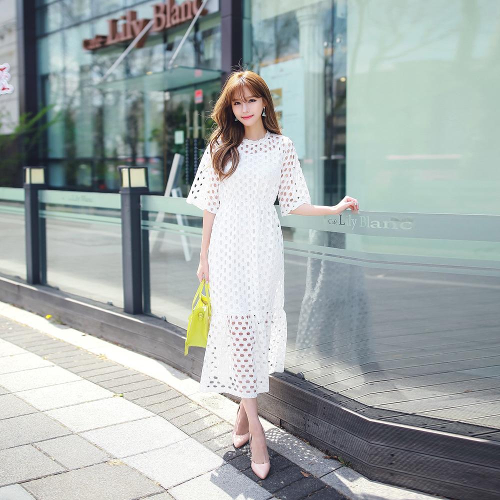 細肩帶吊帶裙+縷空蕾絲短袖洋裝兩件套 (共二色)-Kugi Girl