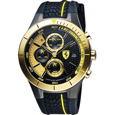 Scuderia Ferrari 法拉利 RedRev Evo 計時手錶-金圈/46mm
