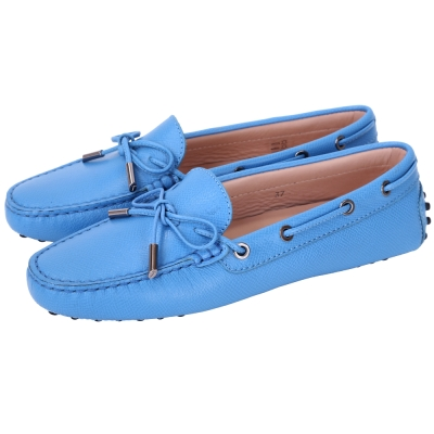 TOD'S Gommino 壓紋牛皮綁帶豆豆休閒鞋(女鞋/天空藍)
