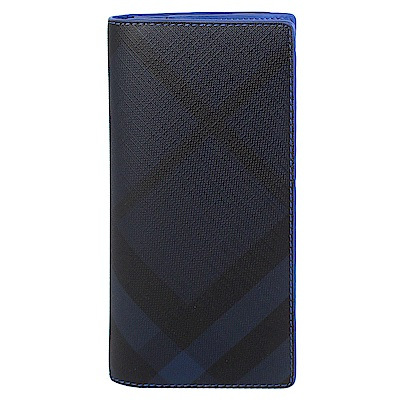 BURBERRY 黑藍色格紋防水材質皮飾邊長夾