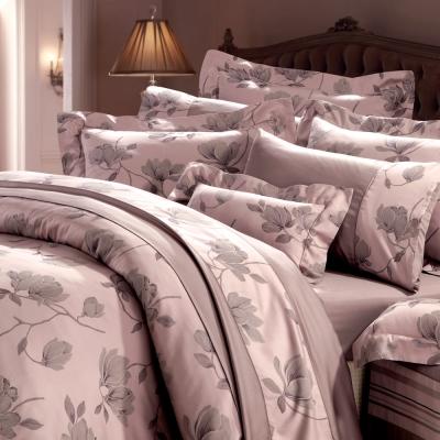 HOYACASA 維也納風情-公爵紫 加大六件式色織緹花長絨天絲被套床包組