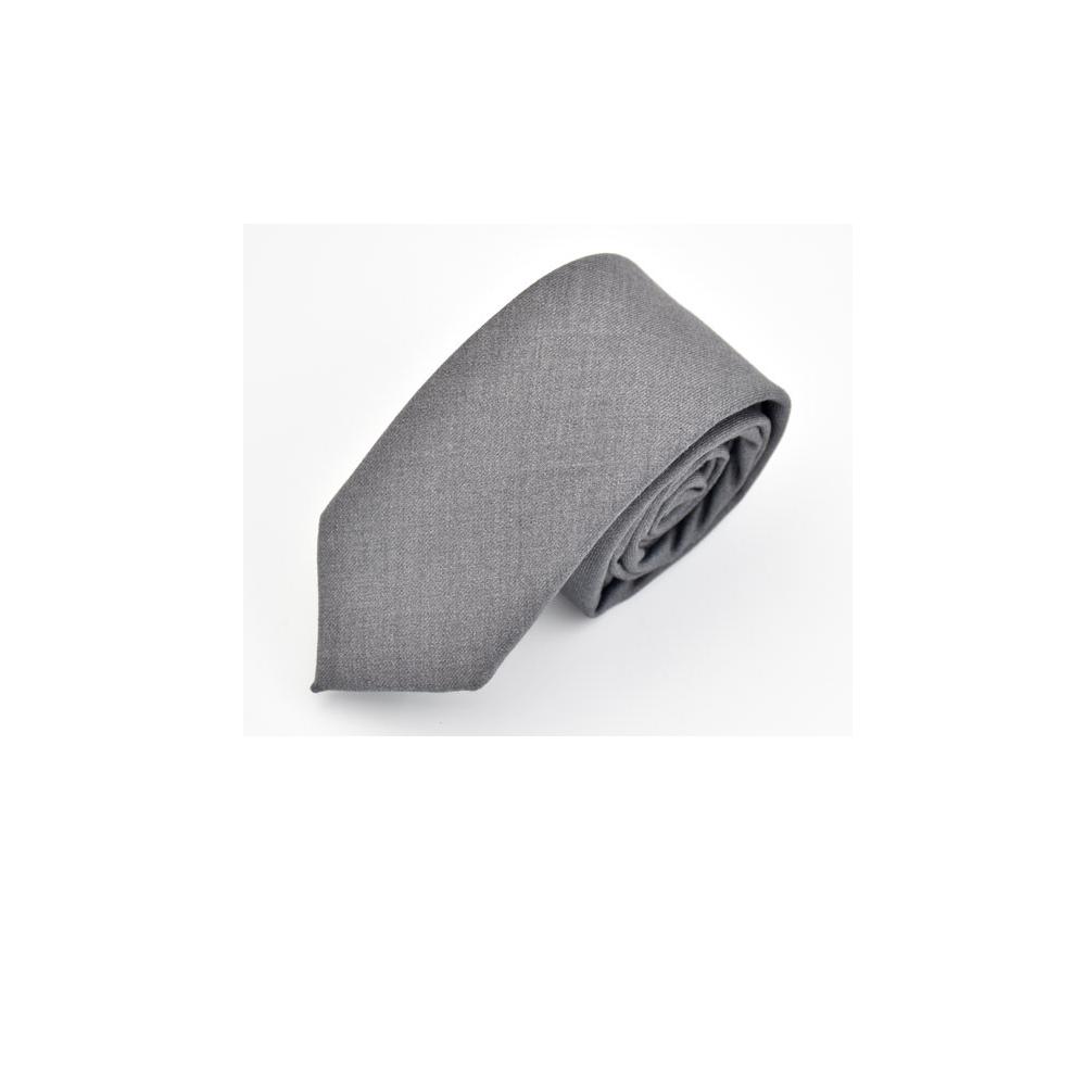 拉福  領帶領帶棉質領帶灰6cm領帶手打領帶