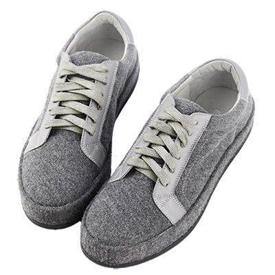 Robinlo&Co. 街頭百搭絨布真皮板鞋 灰