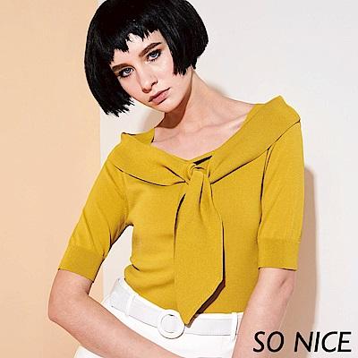SO NICE俏麗方領綁結針織上衣-動態show