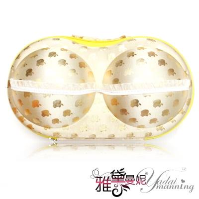 雅黛曼妮 隱形胸罩 超大容量 俏麗日系拉鍊式胸罩內衣收納盒(金蘋果P04)