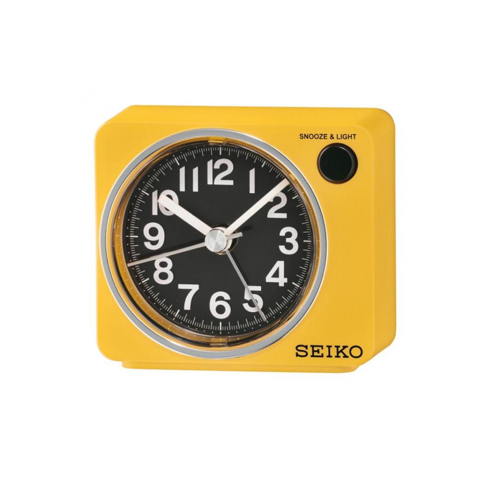 SEIKO 靜音小鬧鐘 滑動式秒針(QHE100Y)-黃/6.4X7.4cm