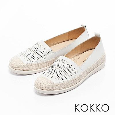 KOKKO -涼風野餐麻繩彈力休閒鞋-清爽白