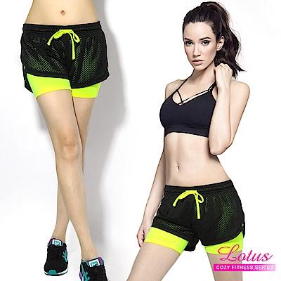 運動褲 防走光彈力排汗透氣網布雙層運動短褲-4色 LOTUS