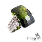 RingCity 祖母綠晶鑽色方型造型戒