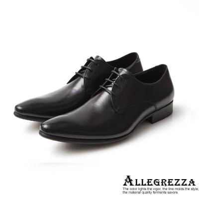 ALLEGREZZA-雅致含蓄-真皮素面綁帶尖頭鞋  黑色