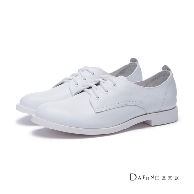 達芙妮DAPHNE 平底鞋-綁帶拼接真皮尖頭牛津休閒鞋-白