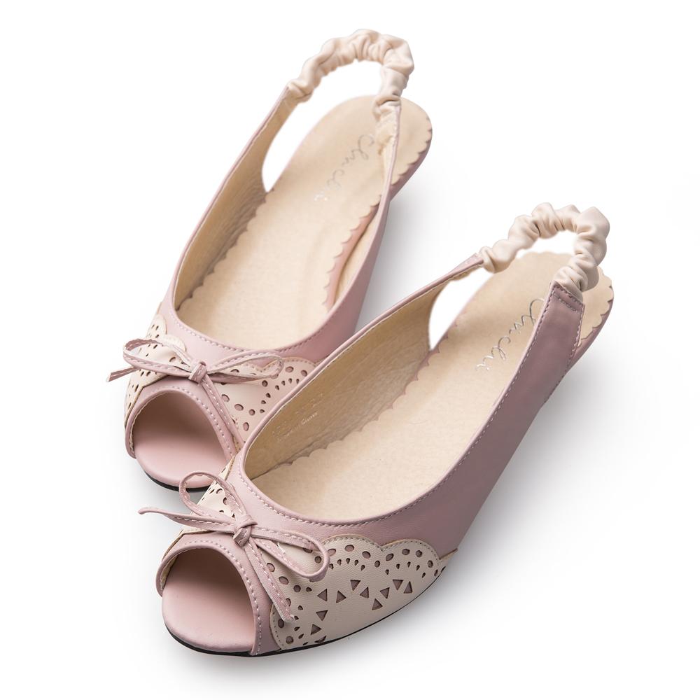 Chichi 雕花雙色拼接魚口坡跟涼鞋*粉色