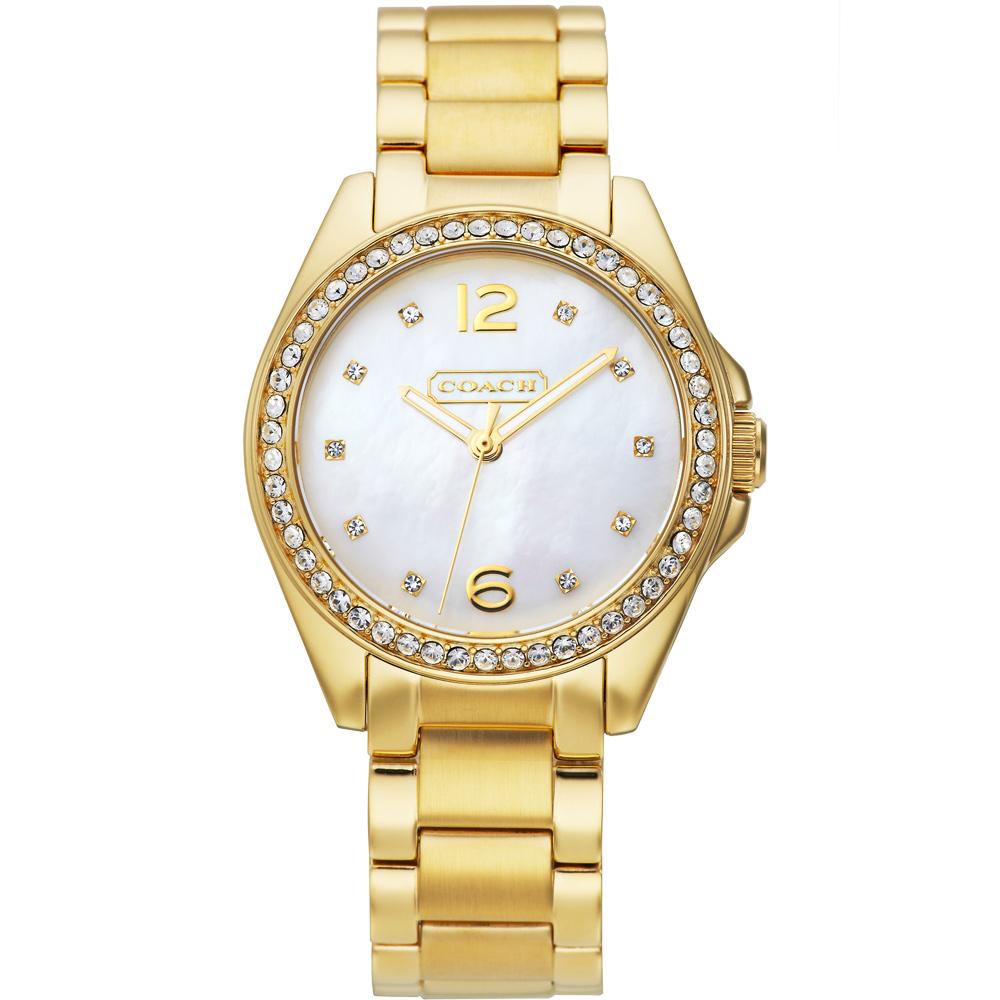 COACH TRISTEN 優雅風情晶鑽腕錶-白貝x金/32mm