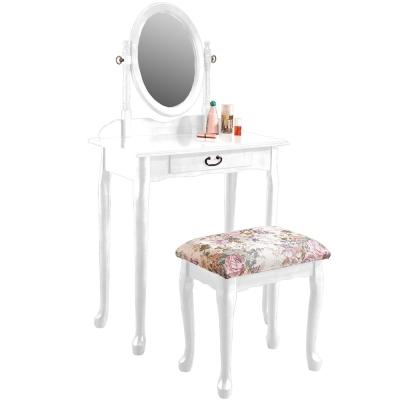 Homelike 古典歐風化妝桌椅組-純白色