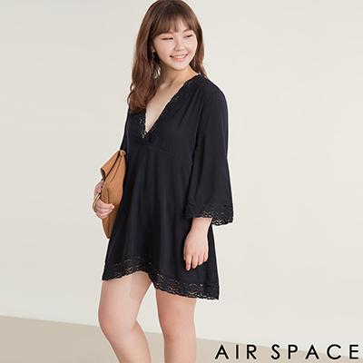 AIR SPACE PLUS 中大尺碼 滾邊蕾絲寬袖傘襬洋裝(黑)