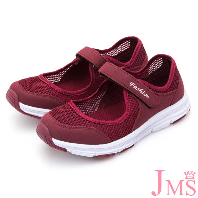 JMS-輕量休閒舒適網布健走鞋-酒紅色