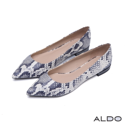 ALDO-俐落原色真皮雙色百搭尖頭鞋-狂野蛇紋