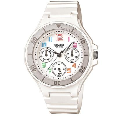 CASIO 繽紛彩虹糖甜心美人運動休閒錶(LRW-250H-7B)-白×灰框/35mm