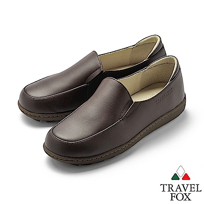 TRAVEL FOX(女) 不變的愛 超軟牛皮舒適極簡素面休閒鞋- 暖心咖