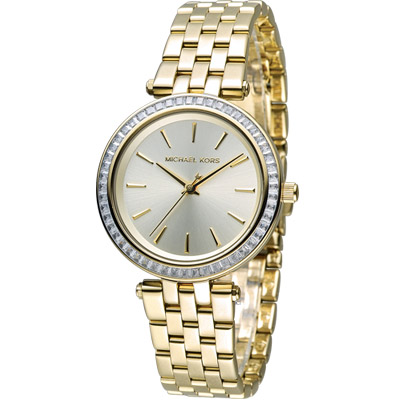 Michael Kors 紐約都會 Party Queen 時尚腕錶-金色/33mm