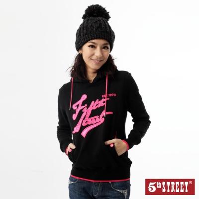 5th-STREET-配色連帽T恤-女-黑色