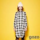 gozo 學院變化格紋寬袖圖樣襯衫洋裝(二色)-動態show