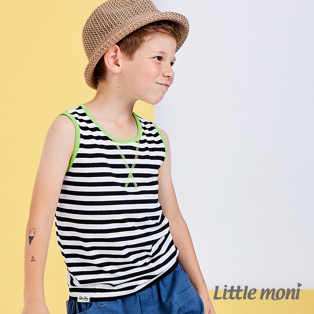 Little moni 美式休閒條紋撞色背心  黑色