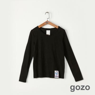 gozo 簡約素面立體布標造型上衣(共2色)