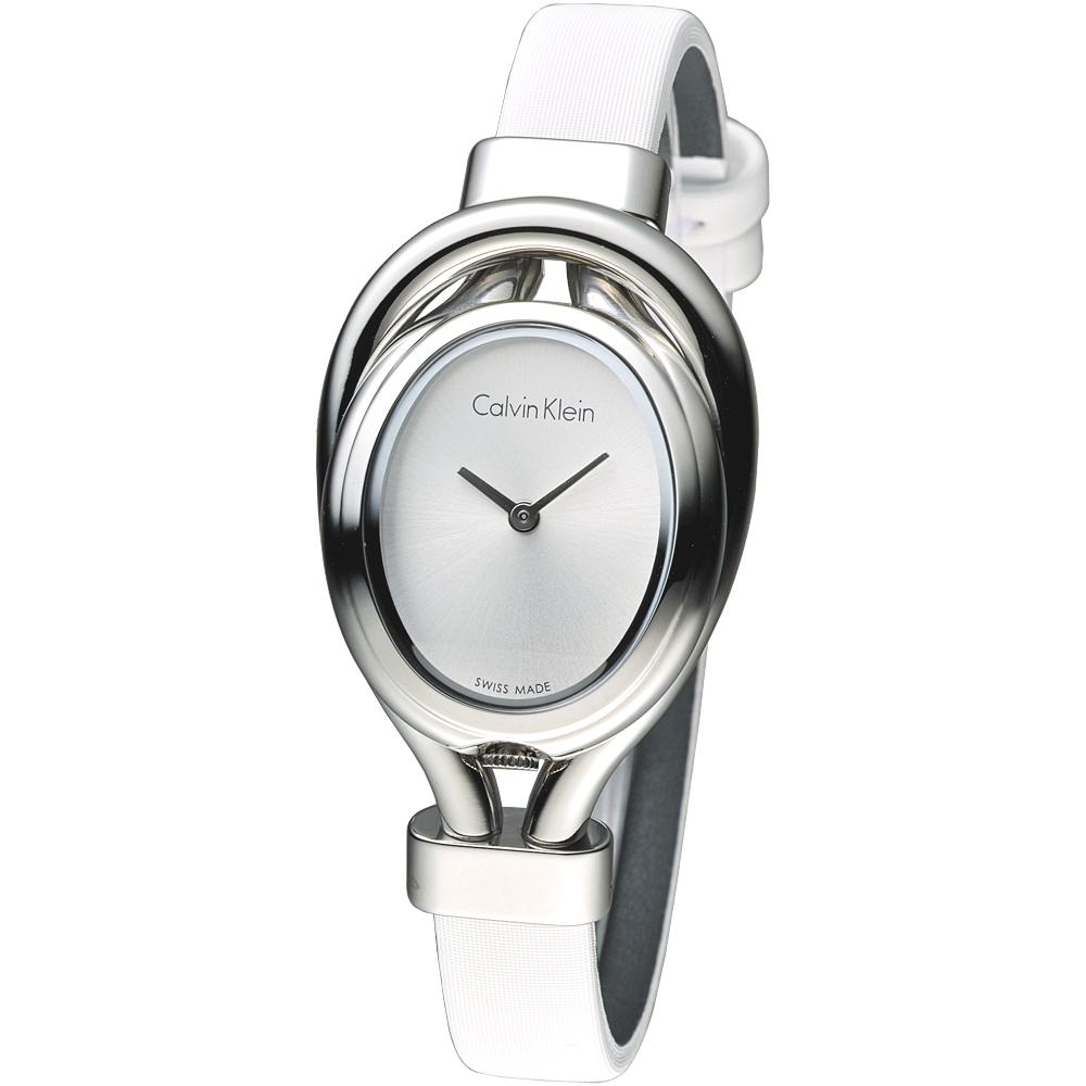 CK珍愛每一天時尚女錶-銀白K5H231K6 2.8*2.4mm