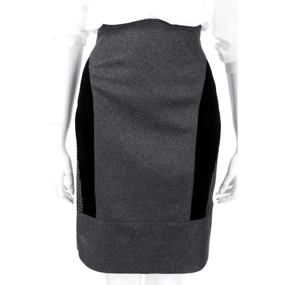 ALBERTA FERRETTI 深灰色羊毛拼接窄裙(75%LANA)