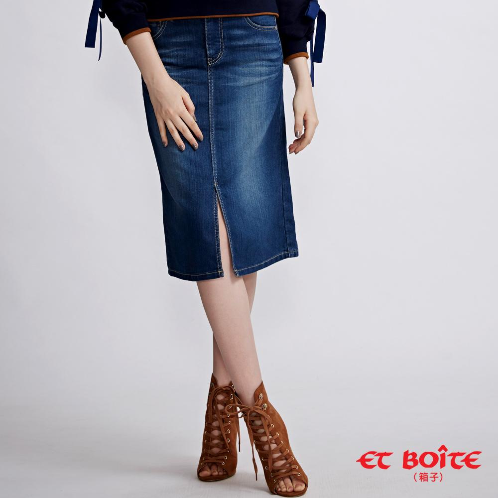ETBOITE 箱子 BLUE WAY 經典及膝開叉丹寧短裙